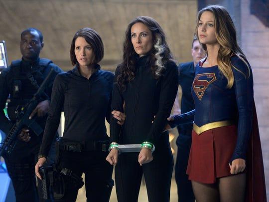 Astra (center, Laura Benanti) gets taken into custody by Alex Danvers (Chyler Leigh) and Supergirl (Melissa Benoist).