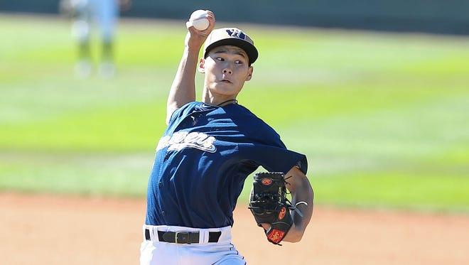 "Milwaukee Brewers minor-league prospect Jolon ""Lun"" Zhao."