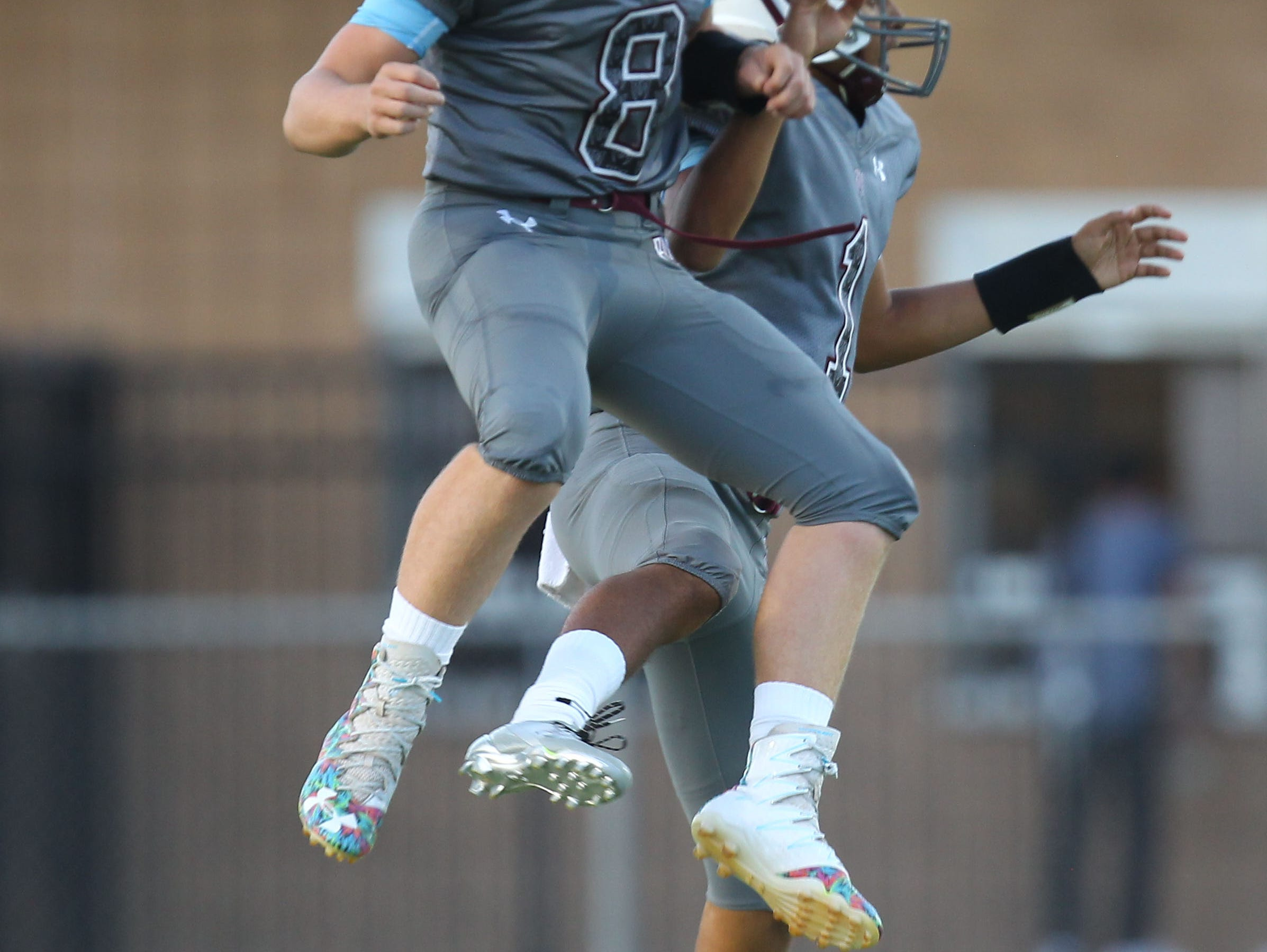 From left Rancho Mirage High School's Kyle Whitefield and Marques Prior celebrate a touchdown at home against Beaumont.