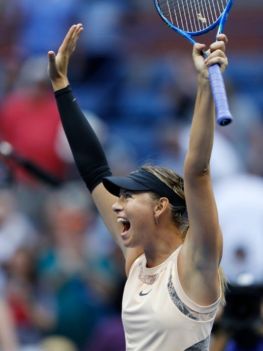 Maria Sharapova, of Russia, reacts after beating Timea Babos, of Hungary, during the second round of the U.S. Open tennis tournament, Wednesday, Aug. 30, 2017, in New York. (AP Photo/Adam Hunger)