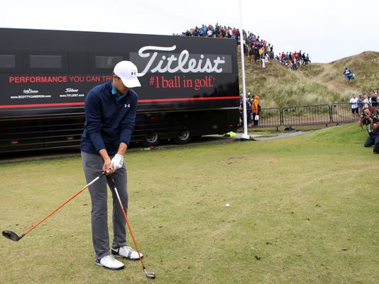 Jordan Spieth of the United States prepares to play a shot on the 13th hole during the final round of the British Open Golf Championship, at Royal Birkdale, Southport, England, Sunday July 23, 2017. (AP Photo/Peter Morrison)
