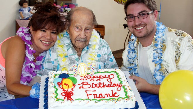 Frank Rogers celebrated his 101st Birthday Saturday, Aug. 6, 2016 at the Beehive Assisted Living Home with his granddaughter, Denise Rogers and great-grandson, Shawn Rogers.