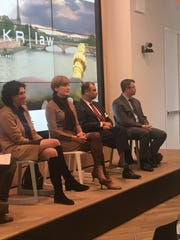 Andrea Tinianow (left) and Caitlin Long (second from left) speak at a Delaware blockchain panel at a co-working space in New York City in January.