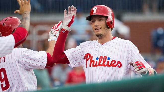 Philadelphia Phillies left fielder Tyler Goeddel is congratulated after hitting a two-run home run during the first inning July 20 against the Miami Marlins at Citizens Bank Park. Goeddel isn't expected to get more playing time during the final month of the season.