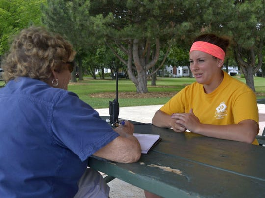 Helen Schwartz, left, interviews Bailey Hearley at Fisk Park in Green Bay for the Bay Area Community Council's Connecting Our Community From Many Directions project.