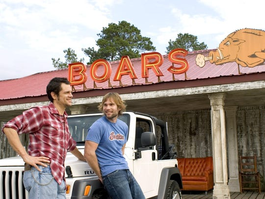 """Johnny Knoxville as Luke Duke and Seann William Scott as Bo Duke star in Warner Bros. Pictures' and Village Roadshow Pictures' action comedy """"The Dukes of Hazzard,"""" also starring Jessica Simpson. The movie came out in 2005."""