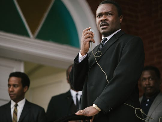 "David Oyelowo portrays Dr. Martin Luther King Jr. in a scene from ""Selma."""