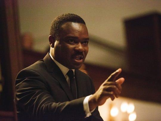"David Oyelowo portrays Martin Luther King Jr. in a scene from ""Selma."""
