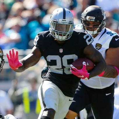 Raiders running back Latavius Murray is back from a turf toe injury and running well.