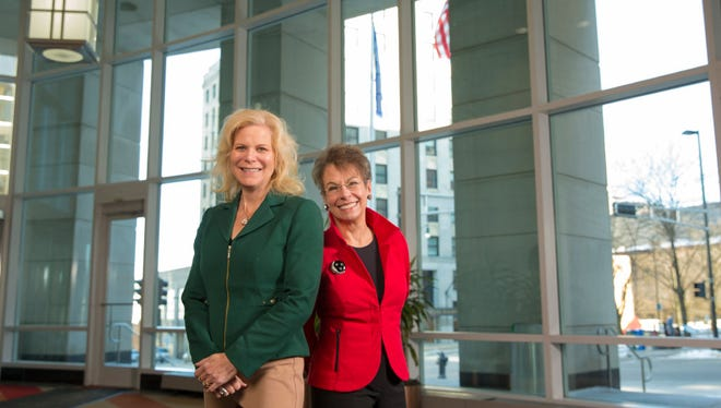 Kim Sponem (left), CEO of Summit Credit Union, and Marsha Lindsay, founder of the Madison marketing firm Lindsay, Stone & Briggs, say the pace of gender diversity on corporate boards needs to speed up in Wisconsin.