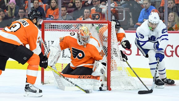 Michal Neuvirth was the best Flyer on the ice Thursday