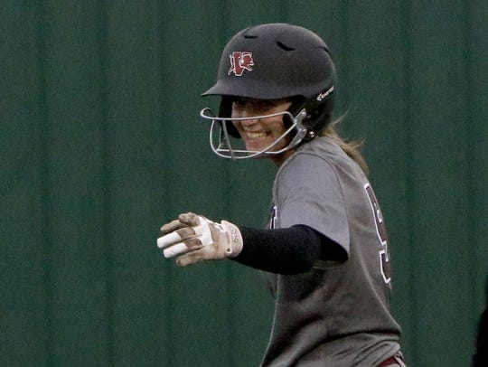 Vernon's Shay Williams points to her first base coach