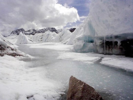 At the foot of the Khumbu Ice Fall on Mt. Everest.