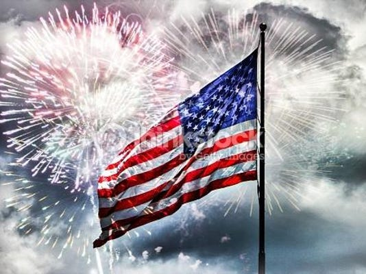 Amercan flag and fireworks