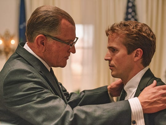 "In ""LBJ,"" Johnson (Woody Harrelson, left) reassures"