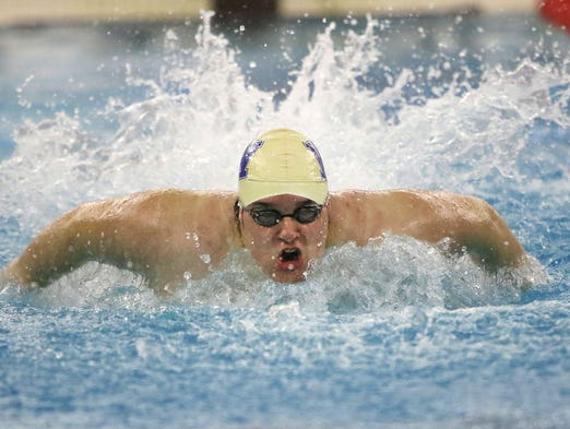 West Allis' Tyler Stepp competes in the 200-yard medley