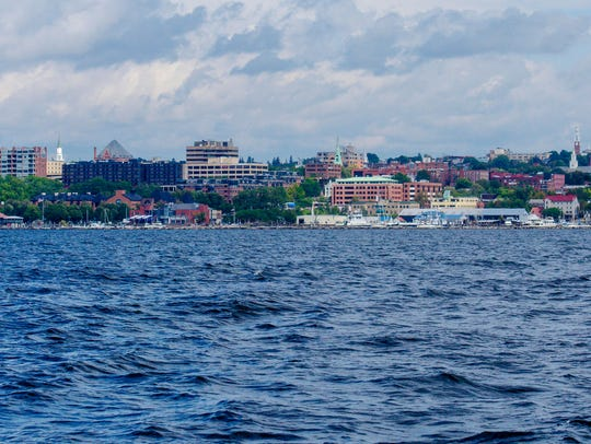 The Burlington waterfront and skyline are seen from