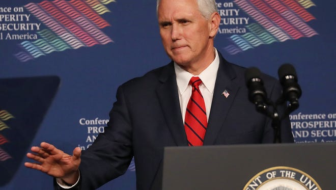 Vice President Mike Pence is pictured speaking during the Conference on Prosperity and Security in Central America at the Florida International University.