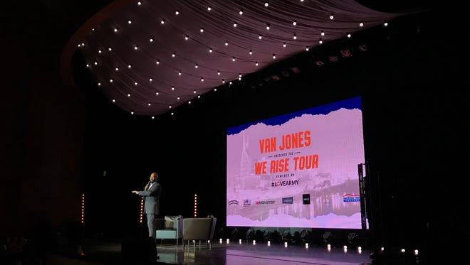 "Van Jones speaks at Vanderbilt's Langford Auditorium in Nashville Tuesday night as part of his ""We Rise Against Hate"" tour."
