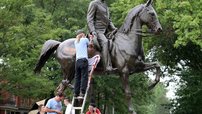 The John B. Castleman statue in Cherokee Triangle was vandalized last summer. Now, an advisory committee could determine its fate in Louisville.