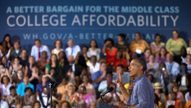 President Barack Obama speaks at Henninger High School in Syracuse, N.Y., Thursday, Aug. 22, 2013.