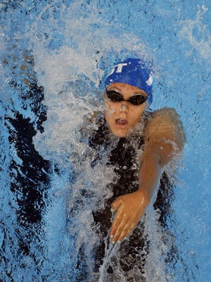 Fossil Ridge's Bayley Stewart, pictured, is seeded first in the 100 backstroke at the Class 5A state meet Thursday and Friday in Thornton.