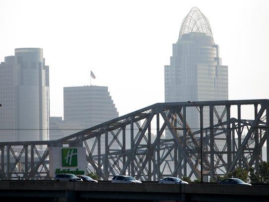 Cars pass through the Brent Spence Bridge on I-71/I-75,