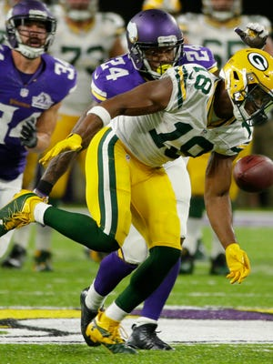 Green Bay Packers wide receiver Randall Cobb (18) is unable to catch a pass while being covered by Minnesota Vikings cornerback Captain Munnerlyn (24) during the fourth quarter of their game at U.S. Bank Stadium Sunday, September 18, 2016 in Minneapolis, Minn. The Minnesota Vikings beat the Green Bay Packers 17-14.  MARK HOFFMAN/MHOFFMAN@JOURNALSENTINEL.COM