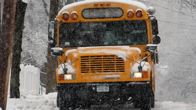A school bus on Nelson Avenue in Peekskill .
