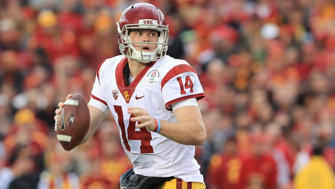 Quarterback Sam Darnold of the USC Trojans looks to pass the ball against the Penn State Nittany Lions during the 2017 Rose Bowl Game presented by Northwestern Mutual at the Rose Bowl on January 2, 2017 in Pasadena, California.