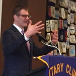 Joe Haj speaks Tuesday to St. Cloud Rotary Club at the Marriott hotel.