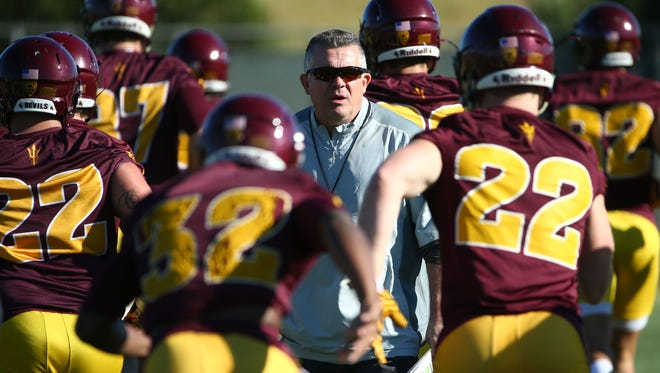 Arizona State head coach Todd Graham during the first day of football spring practice on Mar. 14, 2017 at the Kajikawa Practice Facility in Tempe, Ariz.