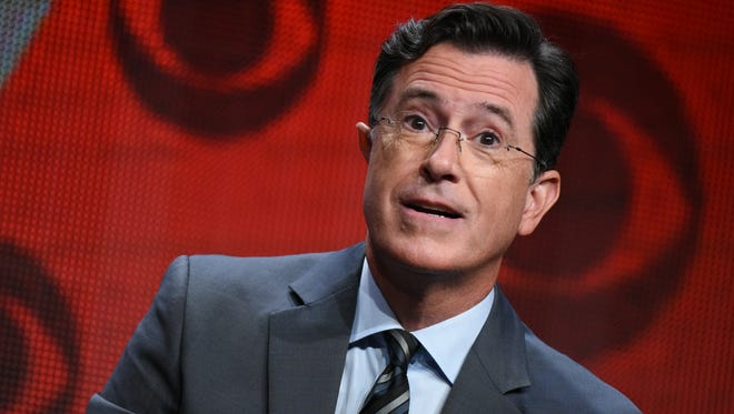 """Stephen Colbert participates in """"The Late Show with Stephen Colbert"""" segment of the CBS Summer TCA Tour in Beverly Hills, California on Aug. 10, 2015."""