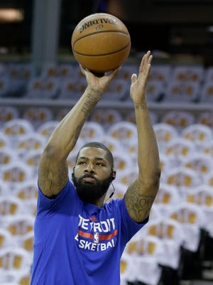 Detroit Pistons forward Marcus Morris warms up April 17, 2016, in Cleveland.