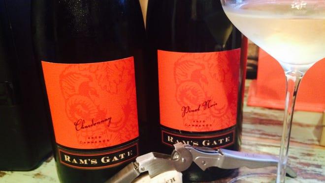 Ram's Gate 2013 Chardonnay, left, and Pinot Noir.
