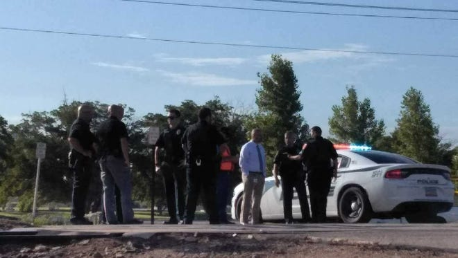 Carlsbad Police Department personnel at the Pecos River July 16 in response to an accident involving a man on the BNSF railway.