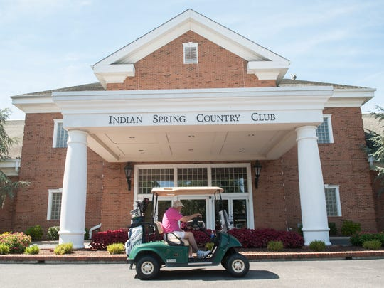 Exterior of the front of the Indian Spring Country Club clubhouse in Evesham Township.  08.29.14
