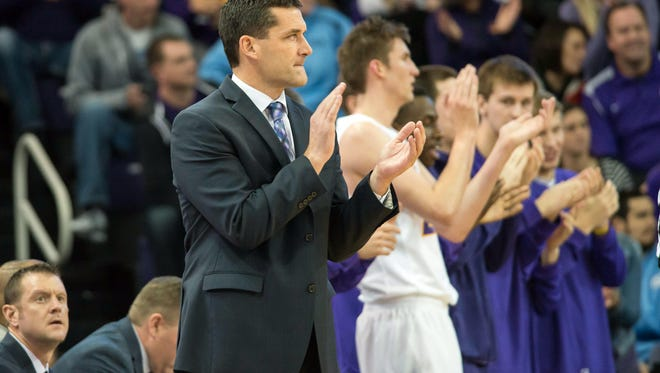 Northern Iowa Panthers head coach Ben Jacobson applauds his team during the second half against the North Carolina Tar Heels at McLeod Center on Nov 21, 2015.