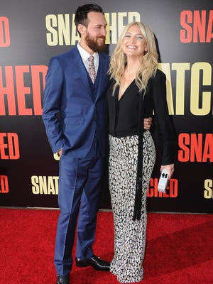Kate Hudson and boyfriend Danny Fujikawa at the premiere of 'Snatched' on May 10, 2017, in Westwood, Calif.