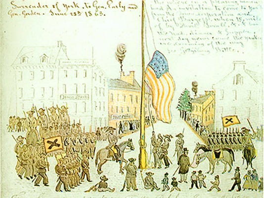 This Lewis Miller sketch shows Brig. Gen. John Gordon's Confederates lowering the massive US flag in the town square of York PA on Sunday, June 28, 1863, during the Gettysburg Campaign. Sketch from YCHT.