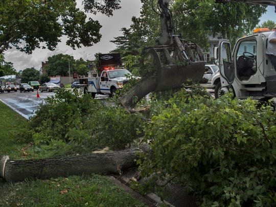 A city worker removes a tree from West End  Avenue
