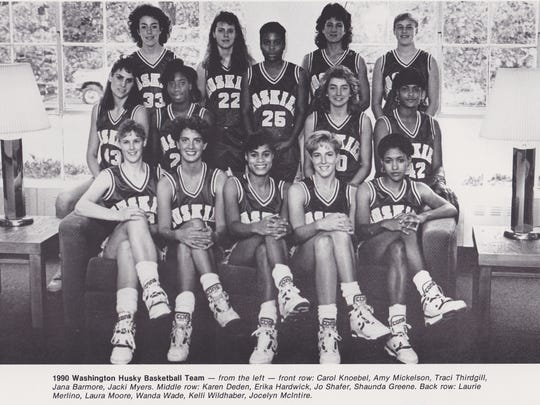 The 1990 Washington Husky women's basketball team. Amy Mickelson is in the front row, second from the left.
