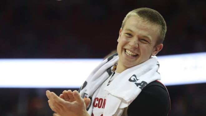 Despite battling a shoulder injury, Wisconsin guard Brad Davison has been conistent for the Badgers.