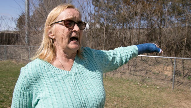 Carol Miller, speaking at the end of her Stephen Street property line Wednesday, April 18, 2018, was angry about potentially deadly chemical contamination that originated from a factory site at 6150 Whitmore Lake Road just over the railroad track to her north.