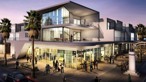 An architect's rendering of the corner of Palm Canyon Drive and Alejo Road in Palm Springs where the Hyatt Andaz is to be developed.