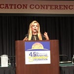 "Leigh Anne Tuohy, whose family adopted future NFL player Michael Oher when he was a homeless teenager, spoke Thursday, July 16, 2015, at Indiana Black Expo's Education Conference. ""Every single person in this room was born with the ability to make a difference in someone's life,"" she said."