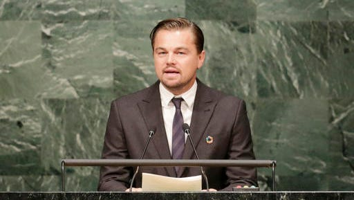 FILE - In this April 22, 2016, file photo, actor Leonardo Di Caprio, a United Nations Messenger of Peace, speaks at the signing ceremony for the Paris Agreement on climate change at U.N. headquarters. DiCaprio's foundation is chipping in to support a new national monument in southern Utah that's been a flashpoint over public land use in the West. His environmental group is one of several donating to create the $1.5 million Bears Ears Community Engagement Fund, which is aimed at supporting local efforts to preserve natural resources and protect the park's trove of ancient archaeological sites from things like looting.