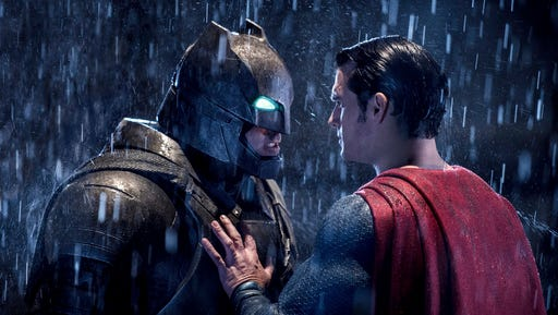 """This image released by Warner Bros. Pictures shows Ben Affleck, left, and Henry Cavill in a scene from, """"Batman v Superman: Dawn of Justice."""" The film received eight nominations for the 37th annual Razzie Awards, including one for worst worst picture. The awards will be announced on Feb. 25."""