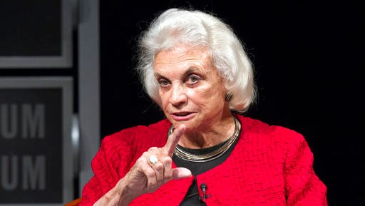 FILE - In this April 11, 2012, file photo, former Supreme Court Justice Sandra Day O'Connor speaks during a forum to celebrate the 30th anniversary of O'Connor's appointment to the Supreme Court, at the Newseum in Washington. The Supreme Court is expelling a workout class founded by its first female justice, O'Connor. The class of Washington-area residents was allowed to work out at the basketball court one floor above where the justices hear cases. But O'Connor left the bench a decade ago and the gym is in a part of the building that's closed to the public.