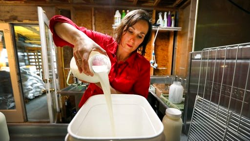 In this March 24, 2017 photo, Rachel Moser pours raw milk into a container on her Be Whole Again Farm in Excelsior Springs, Mo. It is illegal to sell raw milk for human consumption in Delaware, Hawaii, Iowa, Louisiana, Montana, Nevada, New Jersey and Rhode Island but local food groups, organic farming advocates and libertarians opposing government regulation are fighting to change that. They have succeeded at legalizing raw milk sales in some form in 42 states and wont rest until all states allow it.